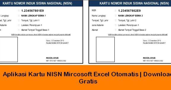 Aplikasi Cetak Kartu Nisn Microsoft Excel Download Gratis Di 2020 Microsoft Excel Kartu Smp