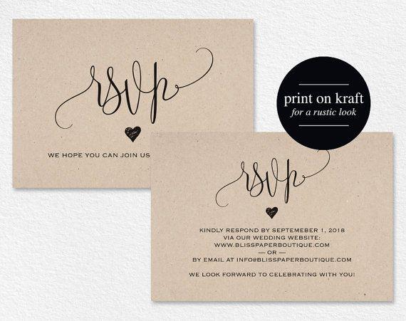RSVP Postcard RSVP template wedding rsvp by BlissPaperBoutique