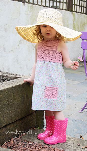 Summer dress with crochet yoke and pocket