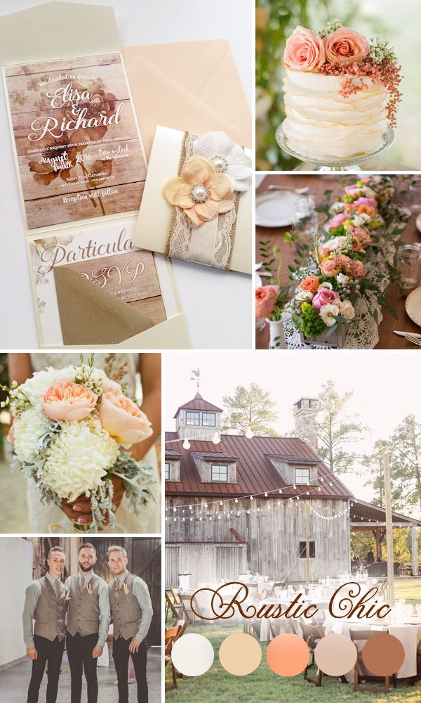 For those looking to plan a country-style wedding, Designed With Amore's Virginia line features wooden textures and chocolate colors, which, when combines with the line's subtle floral designs and lace and fabric accents, gives the theme a rustic chic flair. The cloth flowers, pearl accents and modern calligraphic text adds further to the line's rustic chic charm, making this theme ideal for summer country weddings.