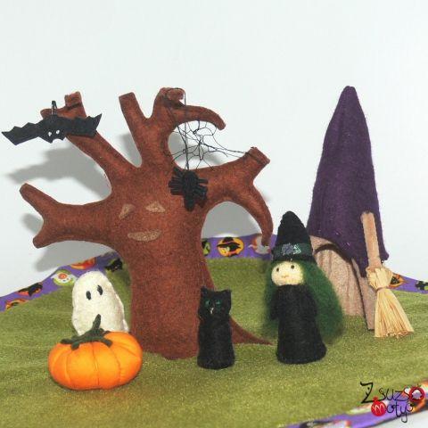 Halloween, felt, handmade toy, witch, black cat