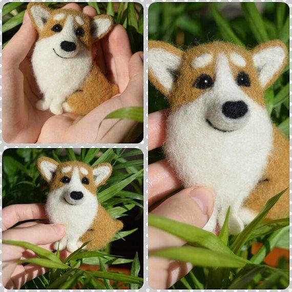 Welsh Corgis Pembroke Brosche Nadel Gefilzte polig handgemachte realistische Hund Replik - Haustier Replik - gefüllte Hund  OOAK REALISTISCHE HUND Diese kleine einzigartige Wolle Brosche besteht aus natürlichen 100 % Schafwolle mit der Technik der Nadelfilz.  Dimension: Länge: 1,97 Zoll (5cm) Höhe: 2,76 Zoll (7cm)  Jede Skulptur ist ein Unikat und macht ein einzigartiges Geschenk für jedermann!  ♥♥♥100 % Liebe, 100 % handgemacht! ♥♥♥   Zahlungs- und Lieferbedingungen Ich akzeptiere nur…