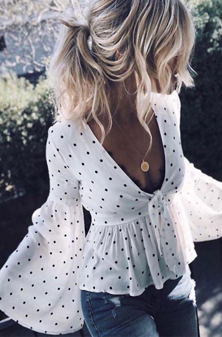 Polka Dot Flare Sleeve Peplum Chiffon Top – Marlyn Esperon