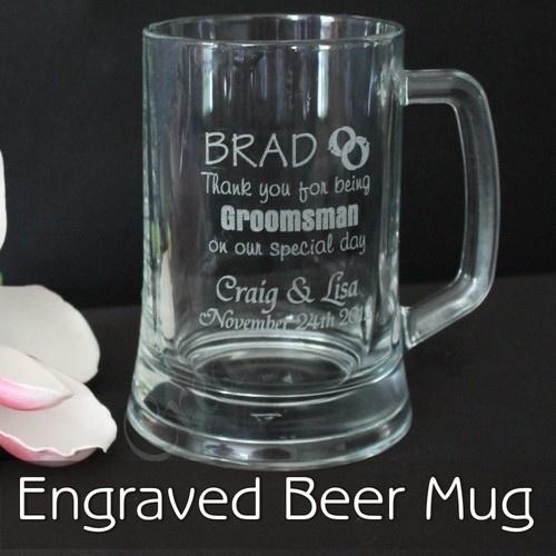 Personalised Wedding Mugs Australia : Personalised Engraved 500ml Beer Mug Glass Wedding Bomboniere Favor G ...