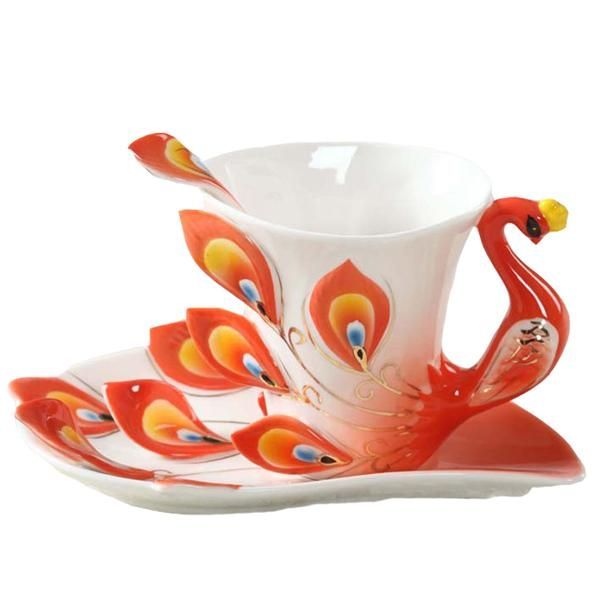 Peacock Tea Cup Ceramic Mugs 3D Color Enamel Porcelain Cup with Saucer And Spoon Coffee Sets