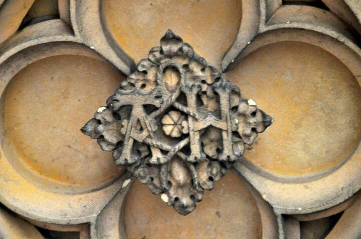 The one Henry VIII forgot: A monogram of his initial and that of Anne Boleyn, at Hampton Court under the clock tower. When Anne was executed he ordered them all destroyed. But it was a rush job. And they missed 1!!!!