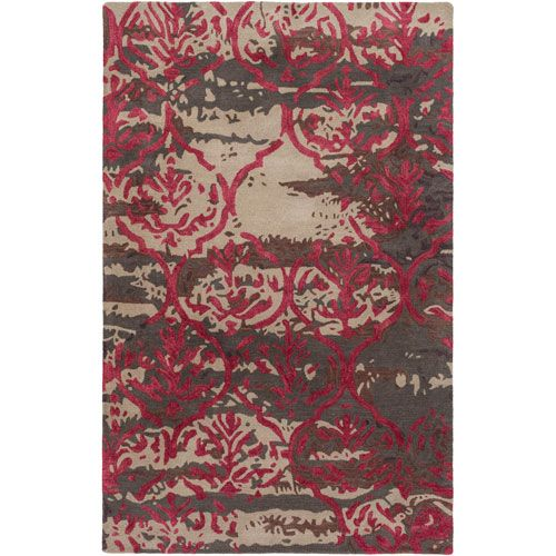 Pacific Holly Brown and Burgundy Rectangular: 5 Ft. x 8 Ft. Area Rug - (In No Image Available)