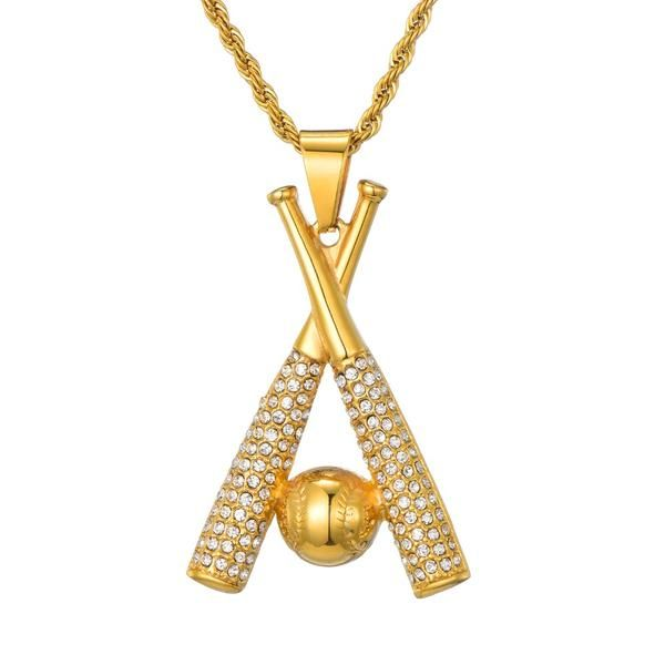 Baseball Necklace Baseball Chain Gold Crossed Bats Pendant Baseball Necklace Baseball Cross Necklace Cross Jewelry Necklace