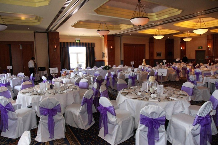 Augusta Suite Set up with Lilac Bows can host up to 160 day guests and 200 evening guests