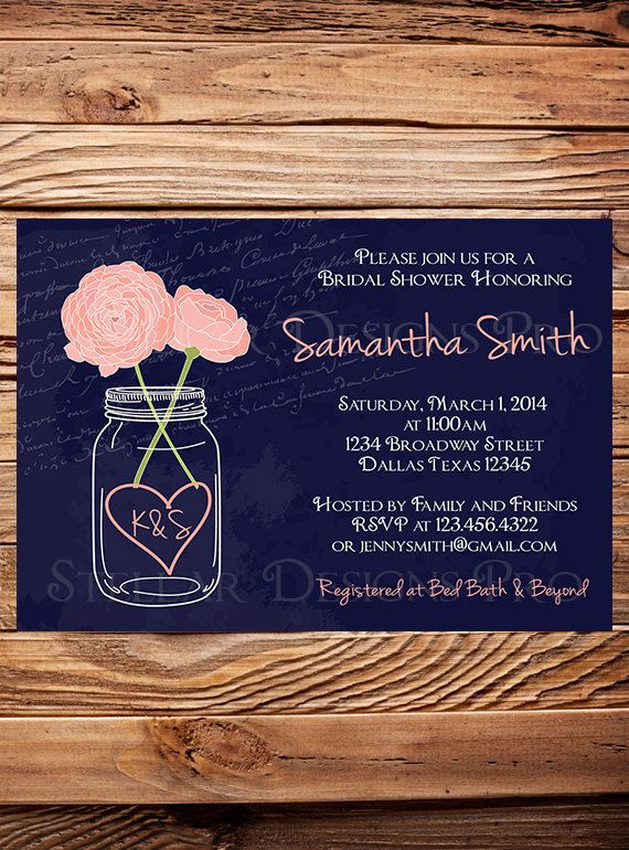 Bridal Shower Invitation, Mason Jar Peonies, Garden Flowers Mason Jar, Navy, Mason Jar, Pink, Coral, Purple, Mason Jar Wedding Shower W on Etsy, $21.00