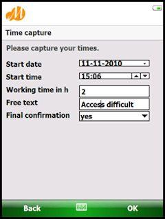 Screenshot de ejemplo de captura de tiempos desde un dispositivo móvil en SAP HCM/CATS construido con la mobile enterprise application platform Movilizer.