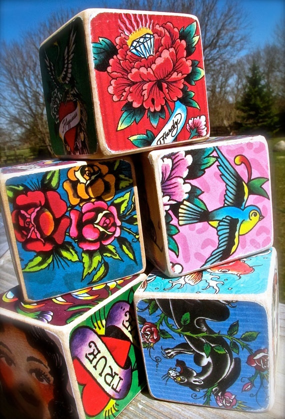 Coolest Ed Hardy Tattoo Lovers Set of Wooden by DangerCatByEmeli, $40.00