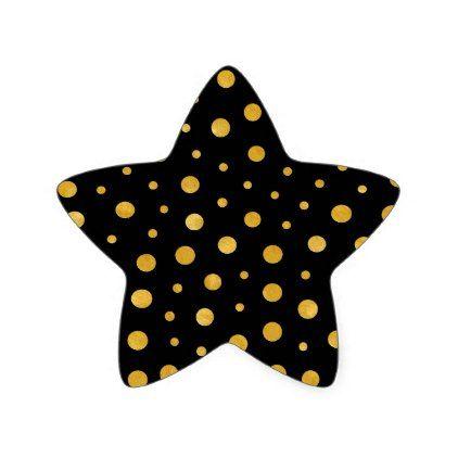 Elegant polka dots - Black Gold Star Sticker - minimal gifts style template diy unique personalize design
