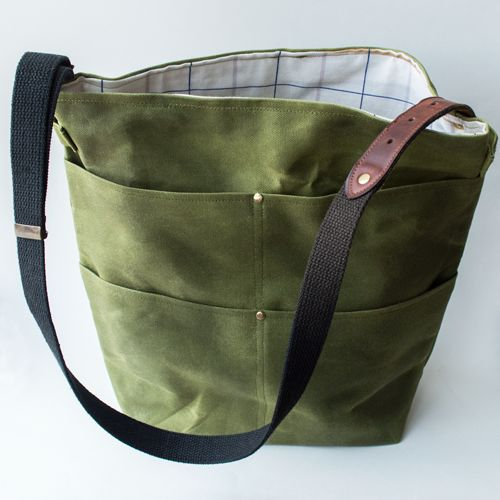 Waxed Canvas Shelah Tote by Justin and Julie Nardy of Yonder Studios, Columbia, MO. - Chestnut Studios, Lindsborg, KS.
