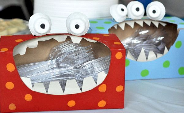 """plasticware holders - Monster birthday theme - too cute and lord knows I have enough tissue boxes after """"cedar fever"""" season!"""