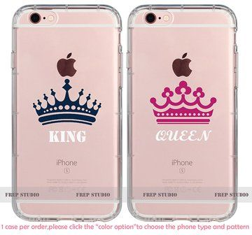 Girlfriend Cute King and Queen Crown Love Couple Phone Cases for Iphone 4, Iphone 5s, Iphone 5c,iphone 6s, Iphone 6 Plus