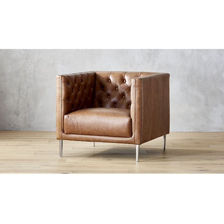 Savile Dark Saddle Leather Tufted Chair | CB2