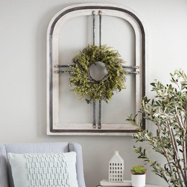 White Cain Wood Arch With Wreath Wood Arch Farmhouse Wall Decor