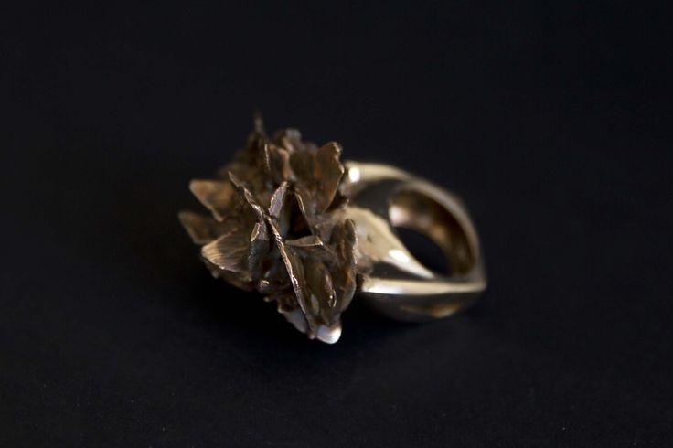 Lost wax in brass, desert rose stone ring.