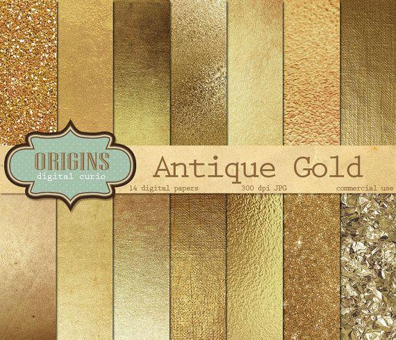 Gold Digital Paper Antique Golden Textures by OriginsDigitalCurio