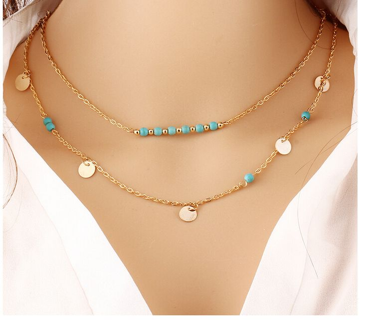 Boho Body Chain Necklaces Simple Multilayer Gold Coin Stone Bead Double Chain Necklace for Women Collares Mujer
