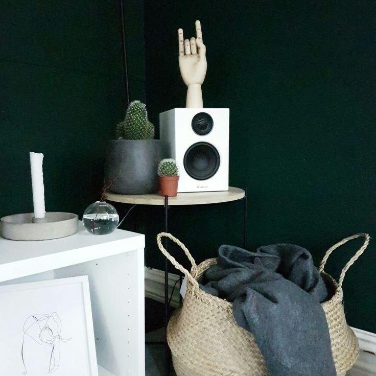 Scandinavian interior details, hay wooden hand, serax vase, cactuses and emeraød green wall Instagram: nisbaxter