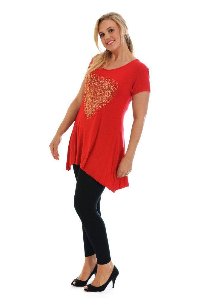 Sweet Gold Studded Heart Tunic Plus Size Top - Red