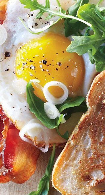 Bacon and Egg Sandwiches with Pickled Spring Onions