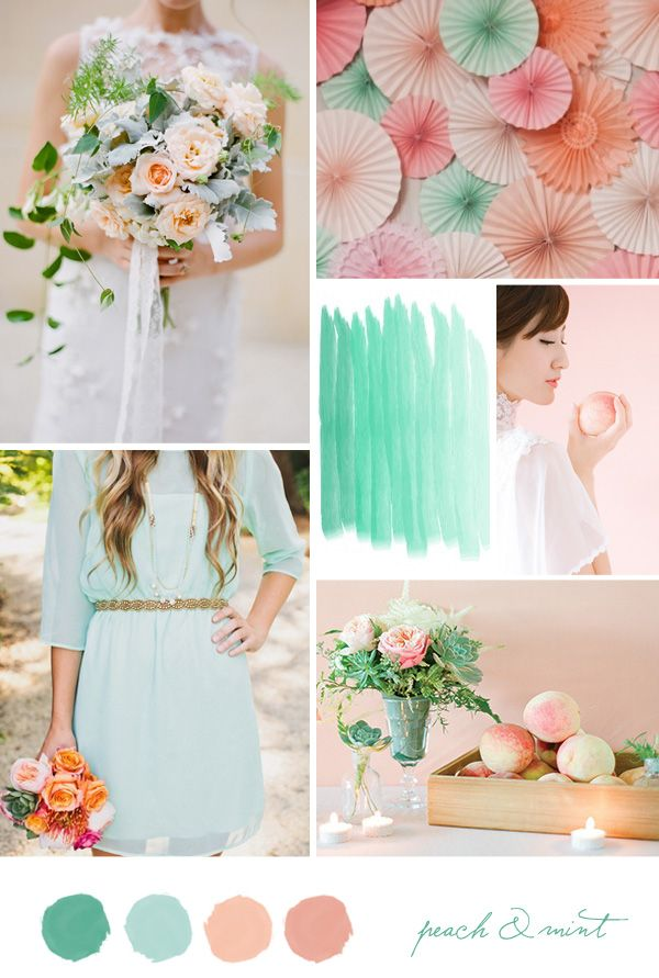 Inspiration board: Mint and Peach    Si je devais me remarier, ce serait mes couleurs!, love the type of dress on the bottom left corner for bridesmaid dresses