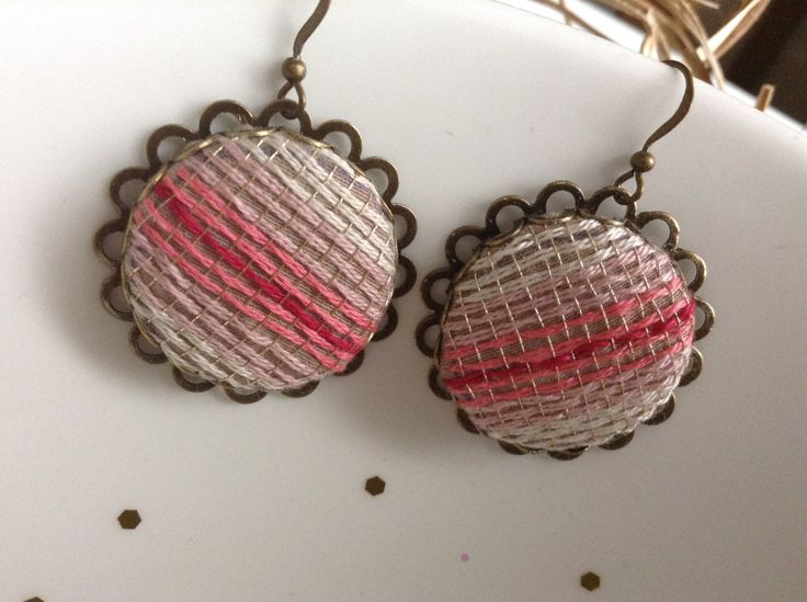 Pink and Gold hand crafted embroidered dangle earrings, textile jewelry by ViewofBeauty on Etsy