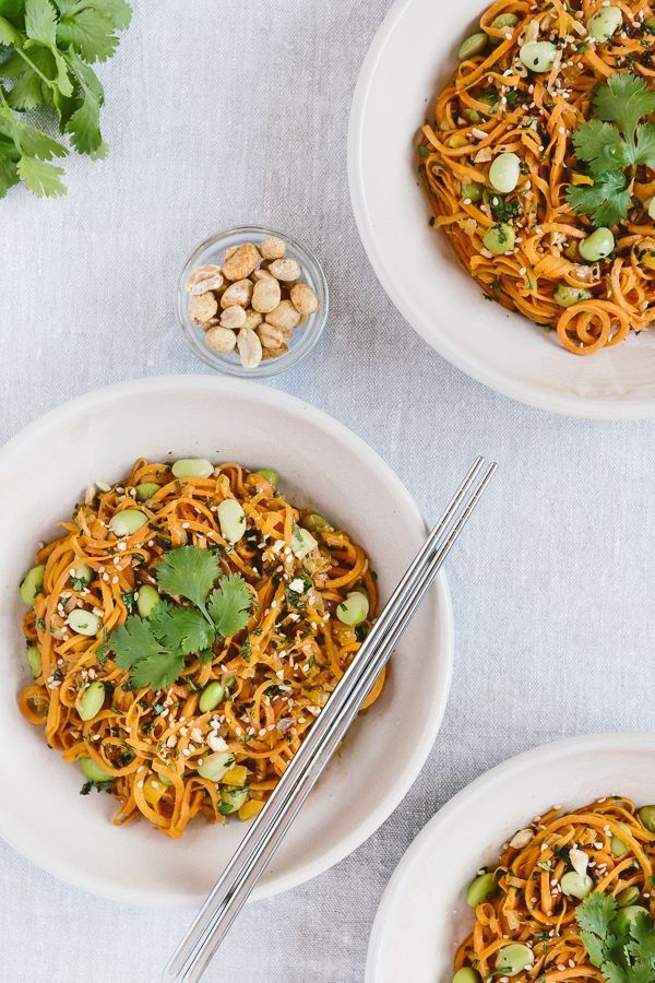 "Sweet Potato Noodle Pad Thai: A vegan and gluten-free pad thai recipe made with sweet potato ""noodles"" / Food styling / Food photography inspiration"