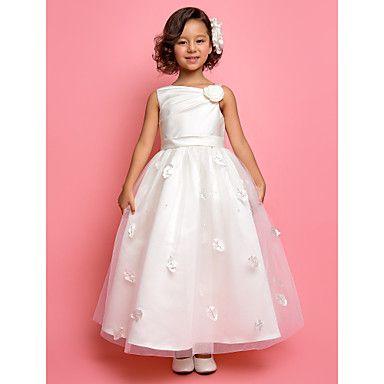 Flower Girl Dress Ankle-length Tulle/Satin A-line/Princess Sleeveless Dress – USD $ 99.99