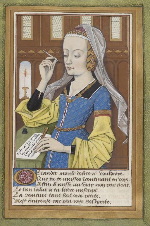 """Enlumineur: Robinet Testart, """"Ovide, Héroïdes ou Epîtres"""", Edition date: 1400-1500, Former owner: Louise de Savoie (Regent of France; 1476-1531)."""