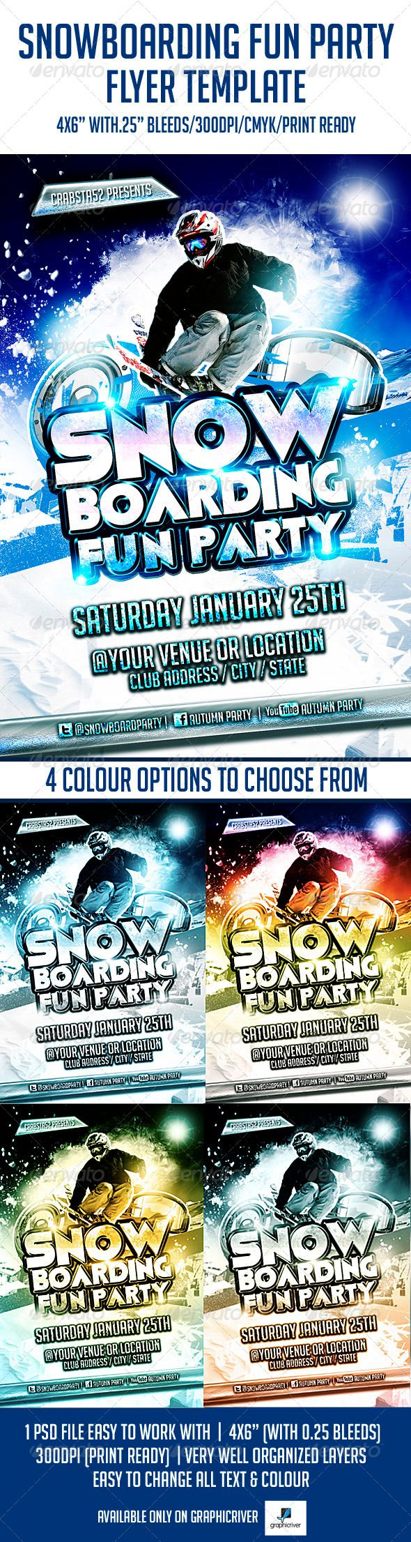 best images about print templates fonts flyer snowboarding fun party flyer template