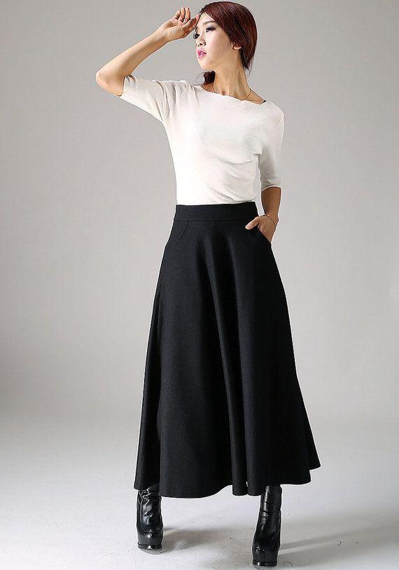 black skirt,wool skirt,A line skirt, long skirt, womens skirts, winter skirt…