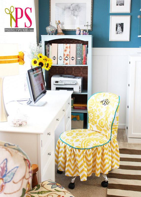 Small-Space Sewing Room & Home Office: Sewing Room Hom, Crafts Spaces, Splendid Crafts, Positive Splendid, Crafts Room, Chairs Slipcovers, Offices Reveal, Room Hom Offices, Offices Chairs