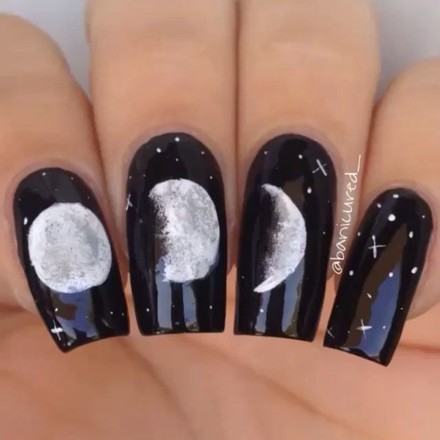 Moon Phase Nails by @banicured_                                                                                                                                                                                 More