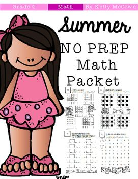 summer review no prep math packet 4th to 5th grade the