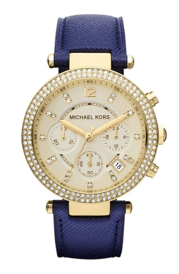 Blue and gold watch by Michael Kors