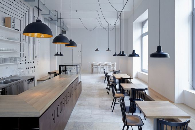 *미니멀 카페 인테리어 [ mimosa architekti ] movement stimulates lighting within prague coffee shop :: 5osA: [오사]