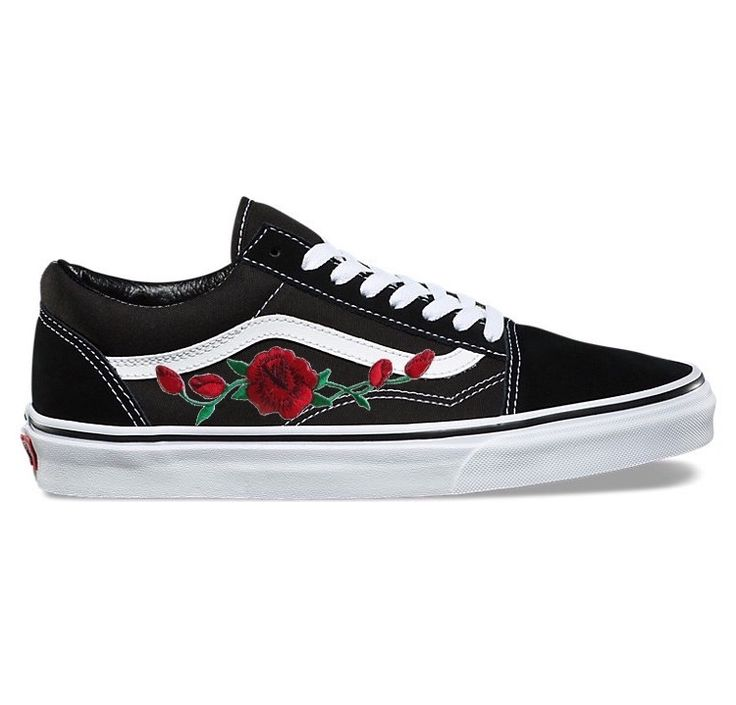 Image of Black Old Skool with Red Rose