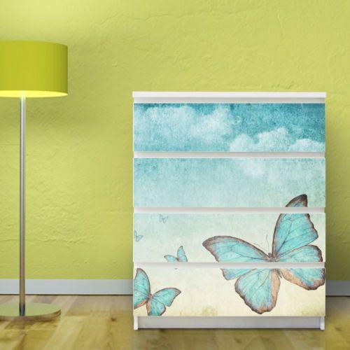 Meubles-tatouage-IKEA-MALM-meubles-autocollant-commode-meuble-sticker-papillons-bleus