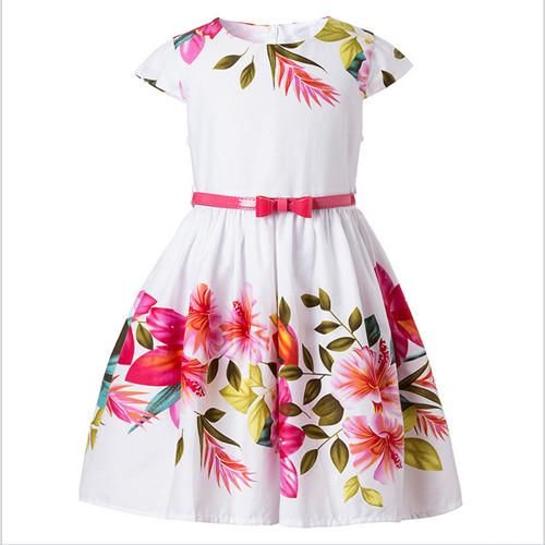 Girl's Dress with Floral Print
