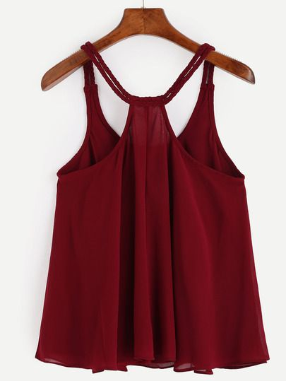 Burgundy Racerback Braided Strap Top -SheIn(Sheinside)