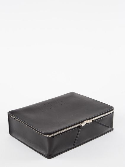 RICK OWENS RICK OWENS SS14 VICIOUS WRITING CASE IN BLACK LEATHER WITH HOLE DETAILS AT THE TOP AND BACK AND A DOUBLE ZIP CLOSURE. * COLOR: BL...