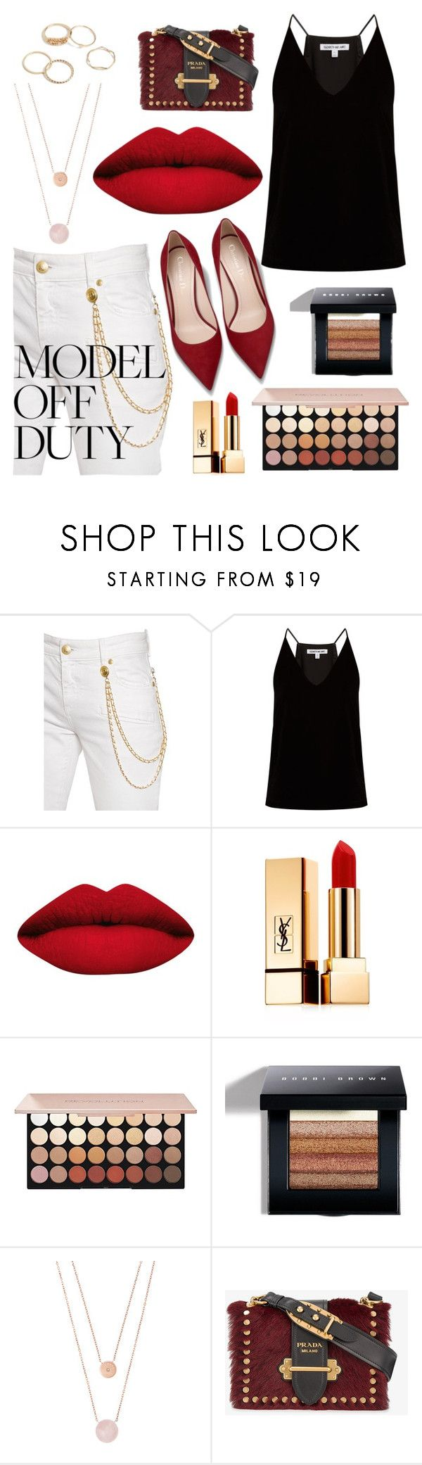 """""""white jeans"""" by toomanynumbers ❤ liked on Polyvore featuring Pierre Balmain, Elizabeth and James, LASplash, Yves Saint Laurent, Bobbi Brown Cosmetics, Michael Kors and Prada"""