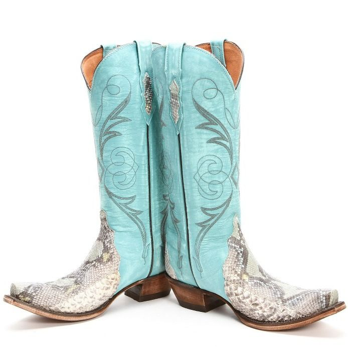 Lucchese Python Triad Snip Toe Blue Cowgirl Boots