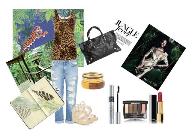 Jungle Fever by alessandraprimavera on Polyvore featuring moda, BKE, Genetic Denim, Oasis, Balenciaga, Chanel, Christian Dior, Gabor and Moleskine