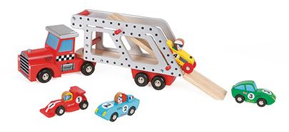 Janod  wooden  racing car transporter with four racing cars. Great toddler gift.  Age 18 months + #toys2learn#Janod#toddler#woodentoys#gift#
