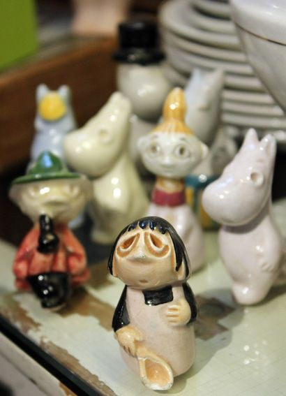 These Moomin figures from 1950's, are designed by Tove Janssons mother Signe Hammarsten-Jansson. Suomenlinna Toy Museum, Helsinki Finland.